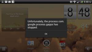 """Como corrigir """"o processo com.google.process.gapps foi interrompido """""""